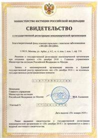 Свидетельство о регистрации благотворительного фонда ЛЮДИ-ЛЮДЯМ в ЕГРЮЛ